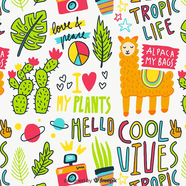 Kleurrijk van krabbeldieren en woorden patroon Gratis Vector