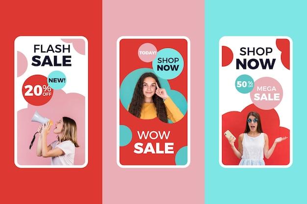 Kleurrijk verkoop instagram verhalenpakket Gratis Vector