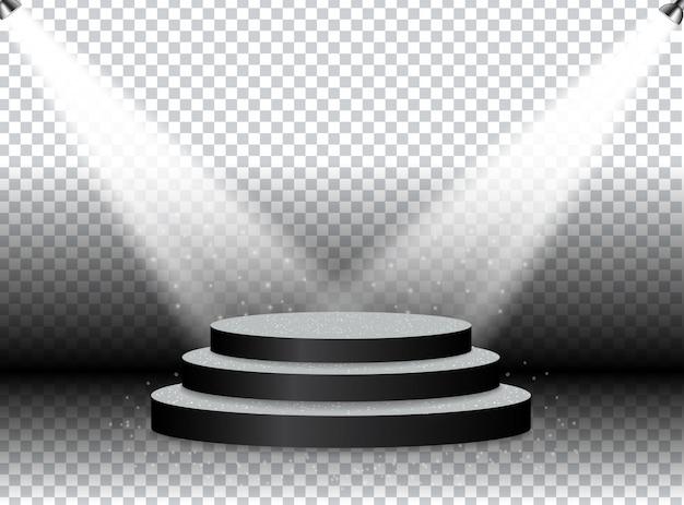 Kleurrijk verlicht podium voor prijzen en uitvoeringen verlicht door heldere schijnwerpers. Premium Vector