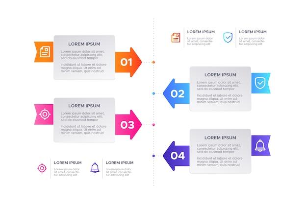 Kleurrijk verloop infographic Gratis Vector