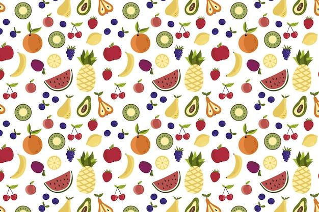 Kleurrijk verschillend fruitpatroon Gratis Vector