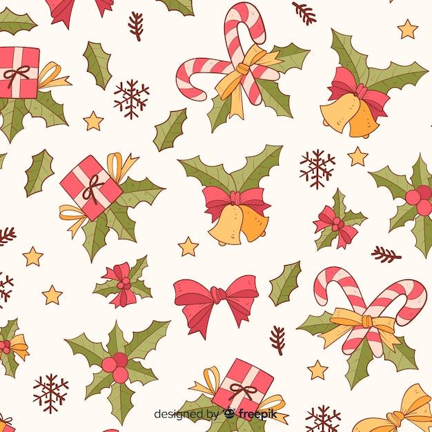 Kleurrijk vintage kerstpatroon Gratis Vector