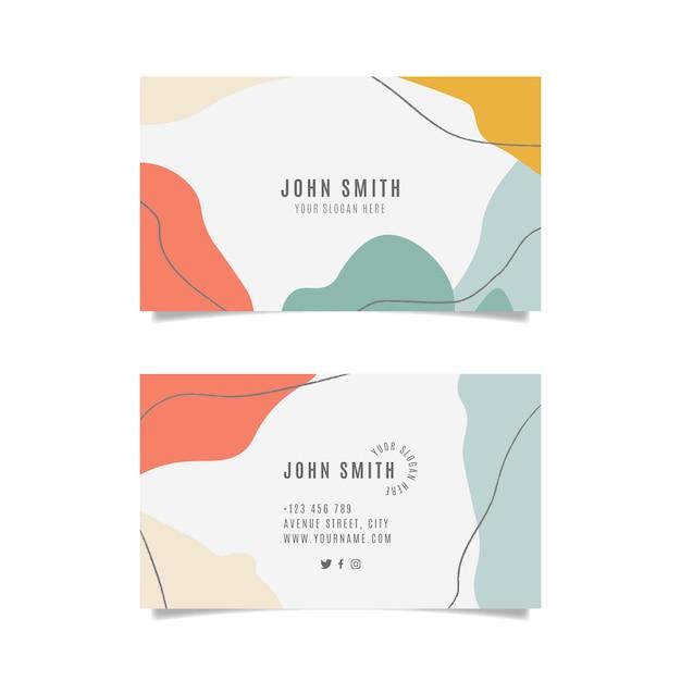 Kleurrijk visitekaartje met abstracte geplaatste vormen Gratis Vector
