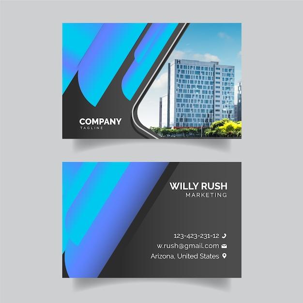 Kleurrijk visitekaartje met foto Gratis Vector