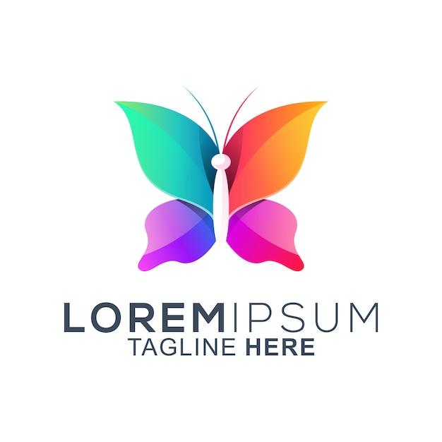 Kleurrijk vlinder logo-ontwerp Premium Vector