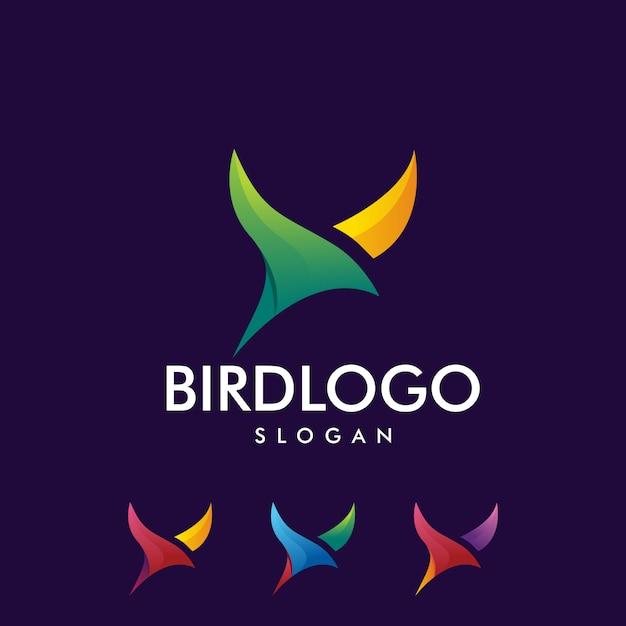 Kleurrijk vogellogo Premium Vector
