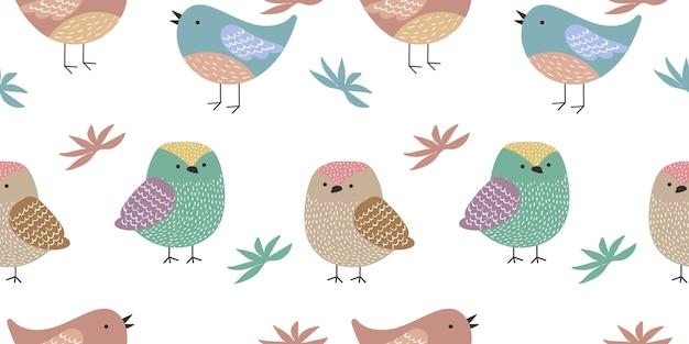 Kleurrijk vogels naadloos patroon Premium Vector