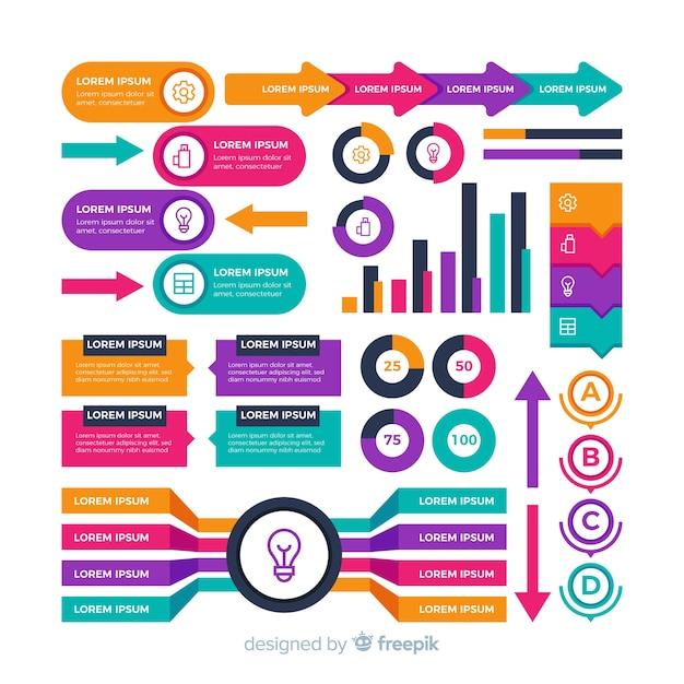 Kleurrijk vormenpak voor infographic zaken Gratis Vector