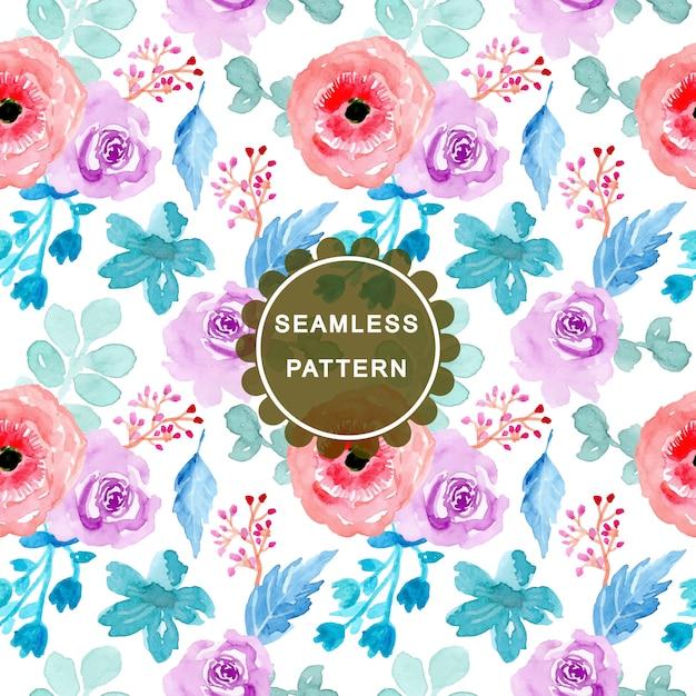 Kleurrijk waterverf bloemen naadloos patroon Premium Vector