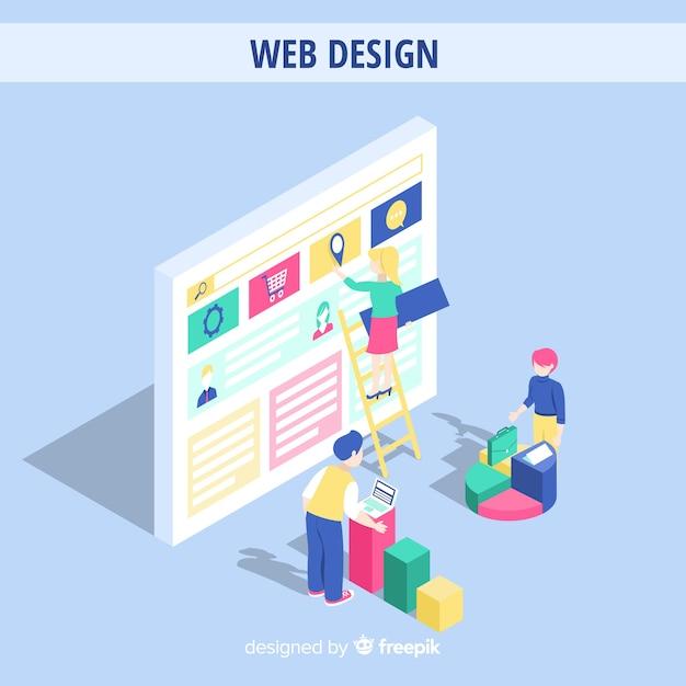 Kleurrijk webontwerpconcept met isometrisch perspectief Gratis Vector