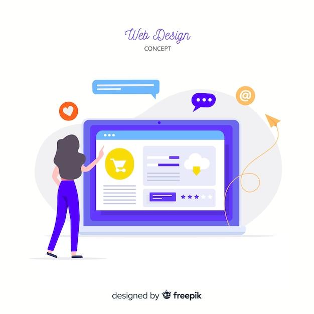 Kleurrijk webontwerpconcept met vlak ontwerp Gratis Vector