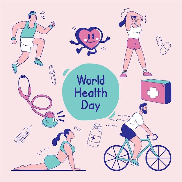 Kleurrijk wereldgezondheidsdagontwerp Gratis Vector