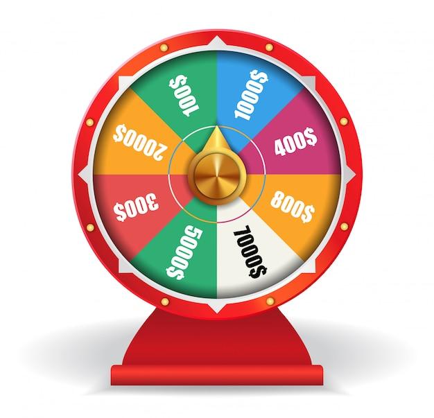 Kleurrijk wiel van geluk met geld. spinning fortune wheel, las vegas, prijs. Gratis Vector
