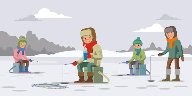 Kleurrijk winter visserijconcept Gratis Vector