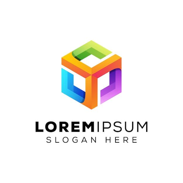 Kleurrijk zeshoek inspiratie logo, moderne hexa vak logo sjabloon Premium Vector