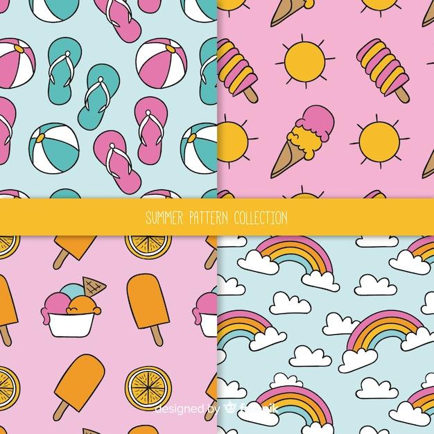 Kleurrijk zomerelement patroon Gratis Vector