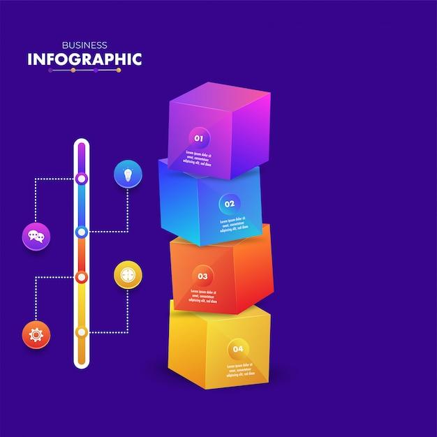 Kleurrijke 3d-infographic kubus blokken met 4 stappen sjabloon Premium Vector