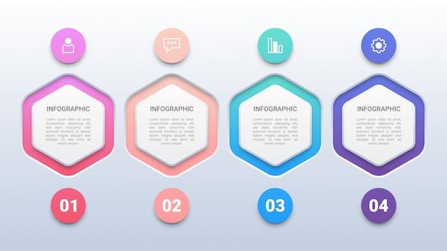 Kleurrijke 4 zeshoeken infographic sjabloon Premium Vector