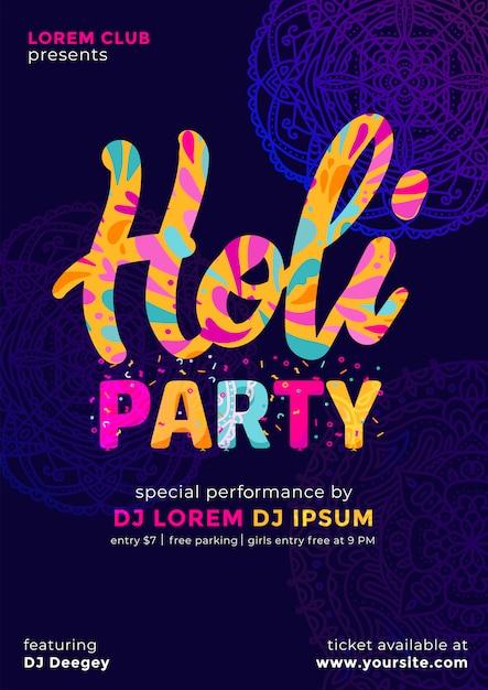 Kleurrijke abstract ingerichte poster, banner of flyer voor indian color festival, holi-feest. mooi gulal kleurrijk donker Premium Vector