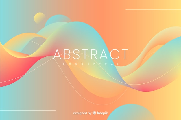Kleurrijke abstracte achtergrond met golvende vormen Gratis Vector