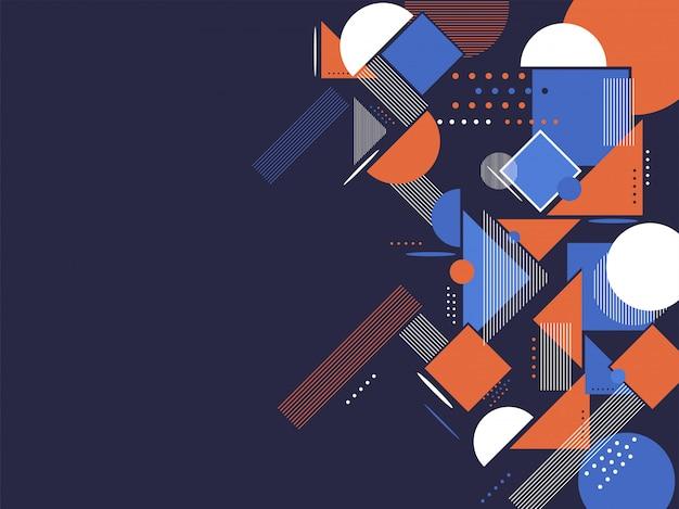 Kleurrijke abstracte achtergrond met verschillende vormen. Premium Vector