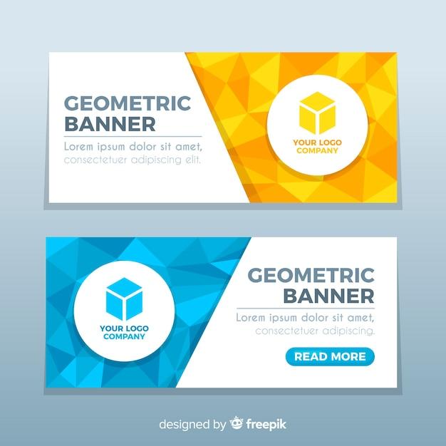 Kleurrijke abstracte banners met geometrisch ontwerp Gratis Vector