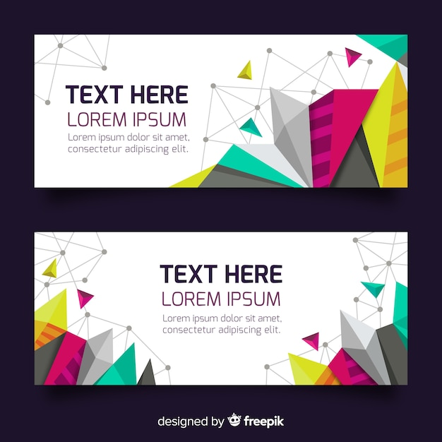 Kleurrijke abstracte banners met geometrische vormen Gratis Vector