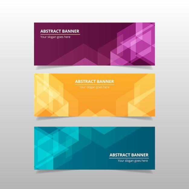 Kleurrijke abstracte banners Gratis Vector