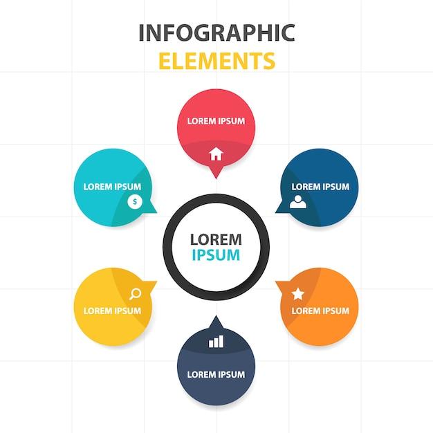 Kleurrijke abstracte business infographic template Gratis Vector