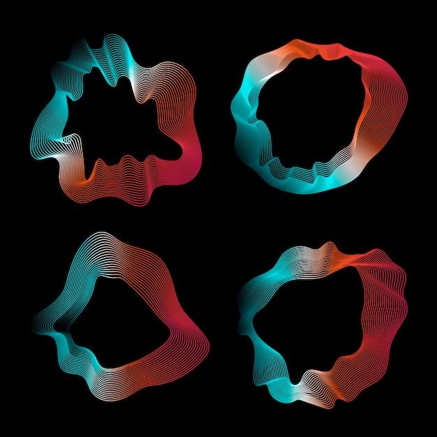 Kleurrijke abstracte contourlijnen collectie Gratis Vector