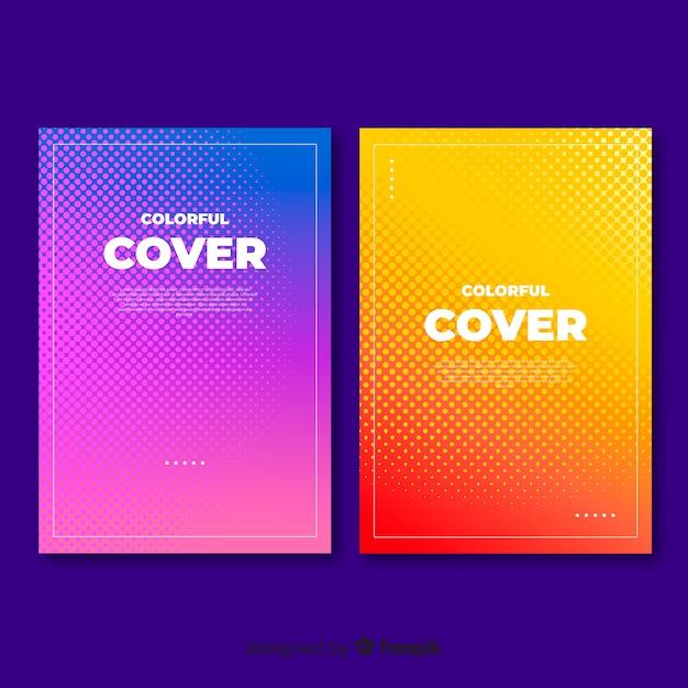 Kleurrijke abstracte cover-collectie Gratis Vector