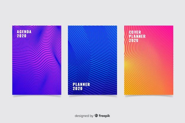 Kleurrijke abstracte cover-collectie Premium Vector
