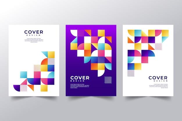 Kleurrijke abstracte covers set Gratis Vector