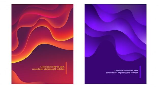 Kleurrijke abstracte curven achtergrond instellen Premium Vector