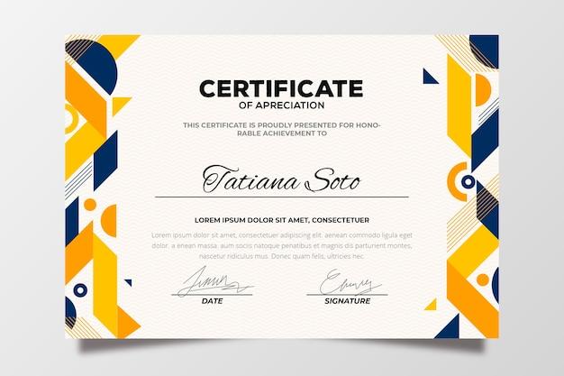 Kleurrijke abstracte geometrische certificaatsjabloon Gratis Vector