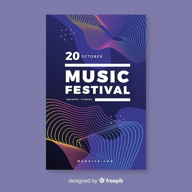Kleurrijke abstracte golven muziek poster sjabloon Gratis Vector