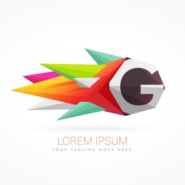Kleurrijke abstracte logo met de letter g Gratis Vector