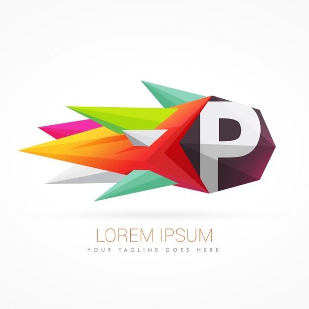 Kleurrijke abstracte logo met de letter p Gratis Vector