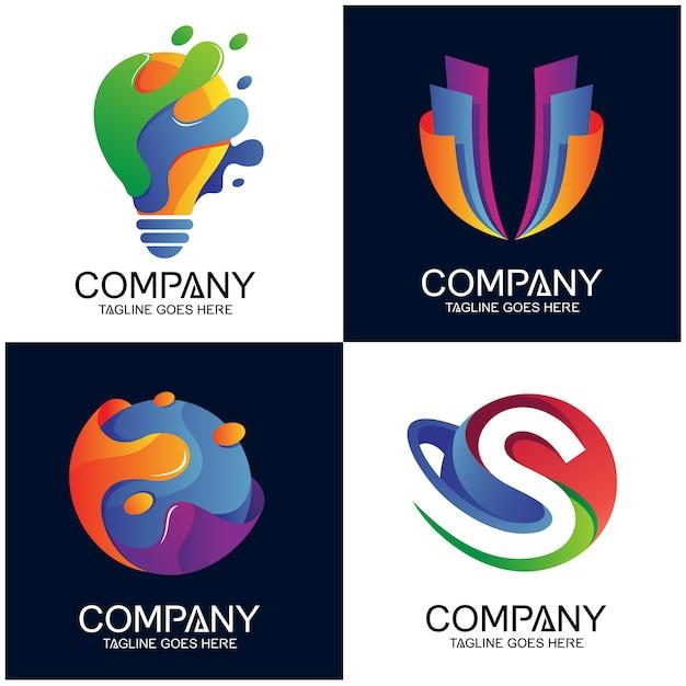 Kleurrijke abstracte logo's collectie ontwerp Premium Vector
