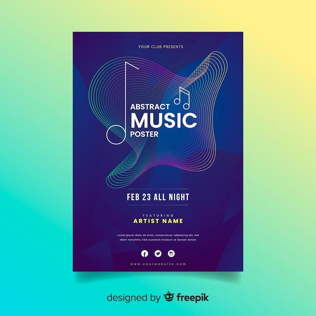 Kleurrijke abstracte muziek poster sjabloon Gratis Vector