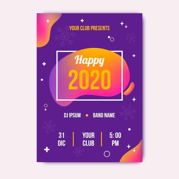 Kleurrijke abstracte nieuwe jaar 2020 partij folder sjabloon Gratis Vector