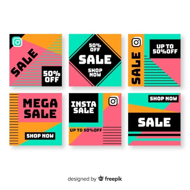 Kleurrijke abstracte verkoop instagram postinzameling Gratis Vector