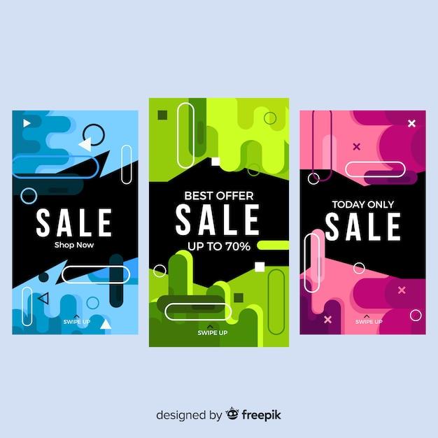 Kleurrijke abstracte verkoop instagram verhalen Gratis Vector