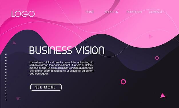 Kleurrijke abstracte vloeibare vorm landende pagina Premium Vector