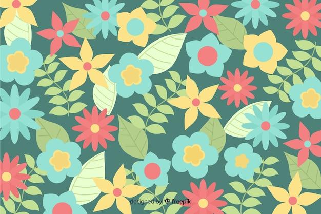 Kleurrijke achtergrond met prachtige bloemen en bloemdessin Gratis Vector