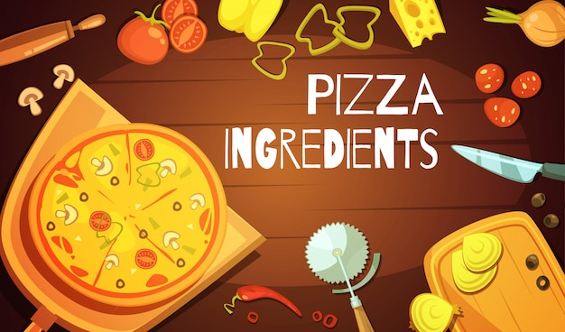 Kleurrijke achtergrond met voorbereide pizza Gratis Vector