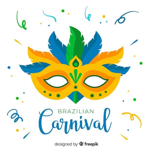 Kleurrijke achtergrond van masker de braziliaanse carnaval Gratis Vector