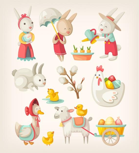 Kleurrijke afbeeldingen van pasen-karakters en dieren voor de lentevakantie. illustraties Premium Vector