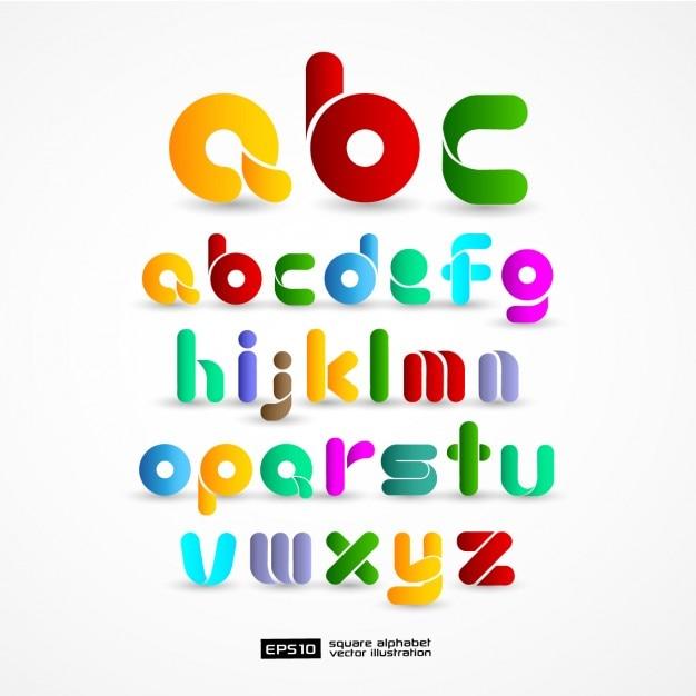 Kleurrijke alfabet Gratis Vector