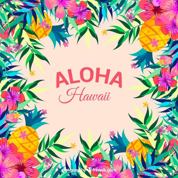 Kleurrijke aloha achtergrond met bloemen en dennenkegels Gratis Vector